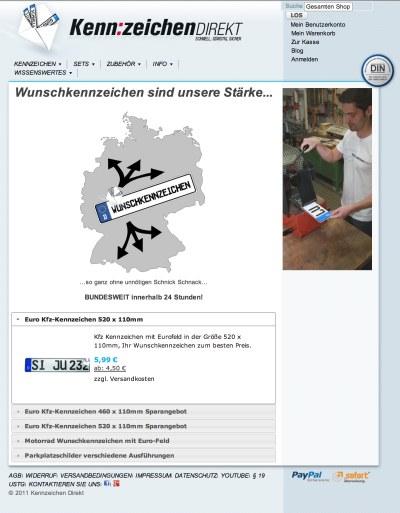 Kfz-Kennzeichen Shop Screenshot