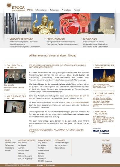 Epoca Kulturerlebnisse Webseite