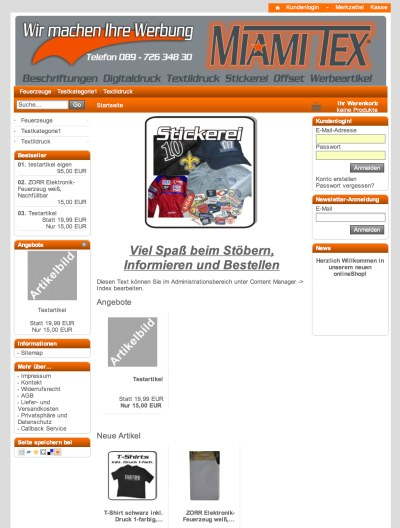 Webshop Miamitex